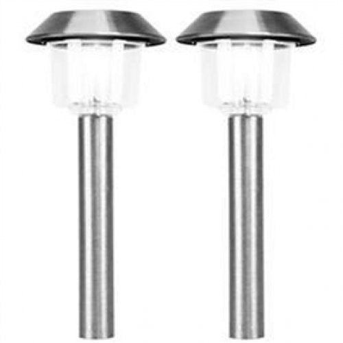 Set of 12 - Stainless Steel Outdoor Solar Lighting Light Set - YourGardenStop