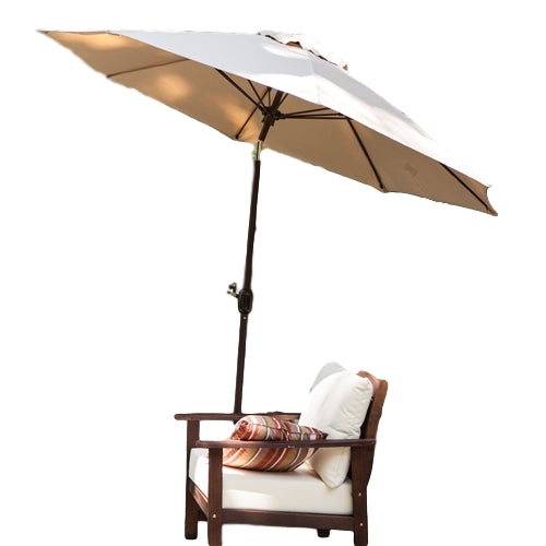 Tilt 9-Ft Patio Umbrella with Heather Beige Canopy and Antique Bronze Pole - YourGardenStop