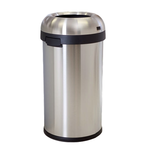 Round Stainless Steel 16-Gallon Kitchen Trash Can with Open Top Design - YourGardenStop