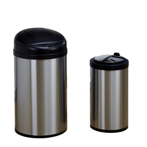 Set of 2 Toucheless Stainless Steel Trash Cans in 3 and 10 Gallon Sizes - YourGardenStop