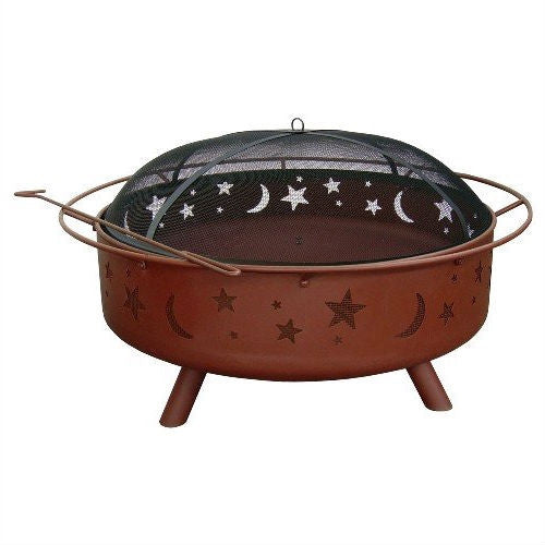 "Large 36"" Moon Stars Outdoor Steel Fire Pit with Spark Guard & Poker"