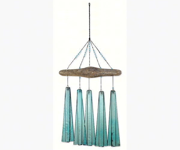 Cobalt Turquoise Sea Glass Wind Chime by Sunset Vista