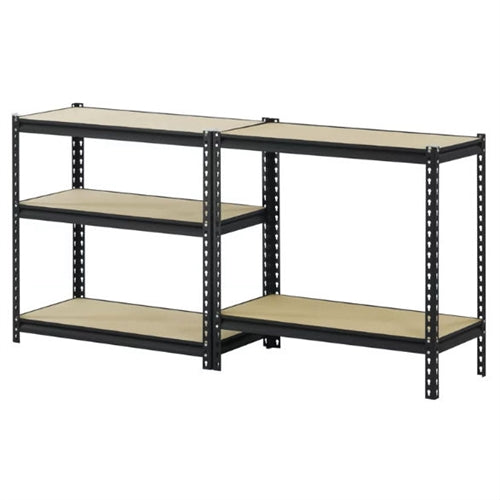 Heavy Duty 5-Shelf Riveted Steel Storage Rack Shelving Unit in Black - YourGardenStop