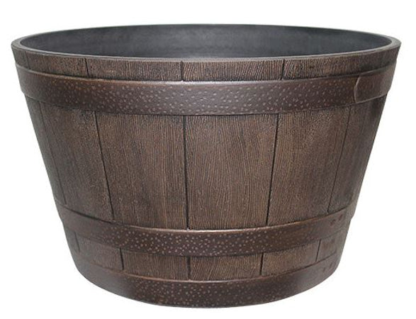 15.5 inch Round Whiskey Barrel Planter in Walnut Finish - YourGardenStop