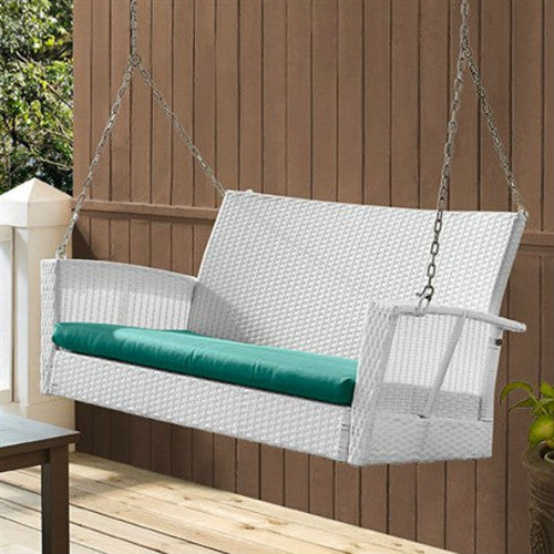 Modern White Resin Wicker Porch Swing with Turquoise Seat Cushion