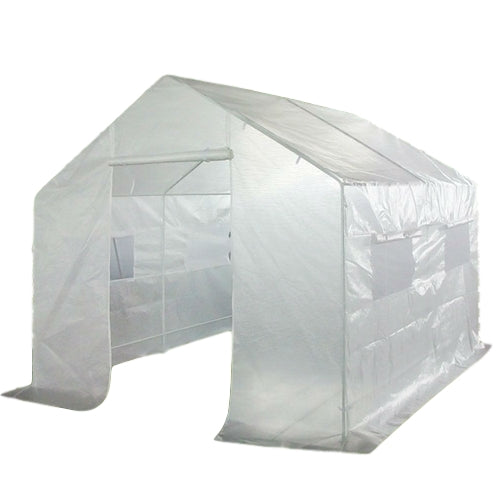 9 x 10 Ft Greenhouse Kit-with-Heavy Duty Steel Frame and PE Cover - YourGardenStop