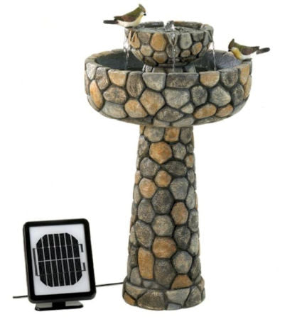 2-Tier Outdoor Cobblestone Solar Powdered Water Fountain - YourGardenStop