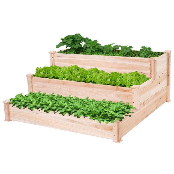 Solid Wood 4 Ft x 4 Ft Raised Garden Bed Planter 3-Tier
