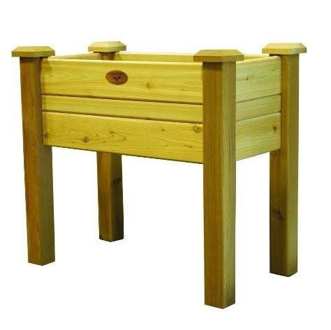 Raised Garden Bed Planter Box in Solid Cedar Wood in Natural Finish 34 inch - YourGardenStop