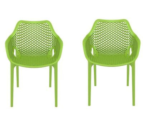Set of 2 - Green Polypropylene Outdoor Stacking Patio Dining Arm Chair - YourGardenStop