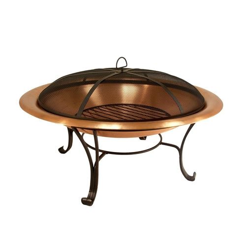 30 inch Copper Fire Pit with Steel Stand and Spark Screen - YourGardenStop