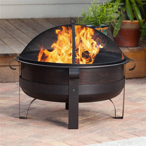 "Heavy Duty 34"" Fire Pit Deep Steel Cauldron w/Screen Stand & Cover"