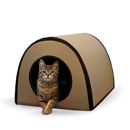 Modern Heated Outdoor Cat House Shelter in Tan - YourGardenStop