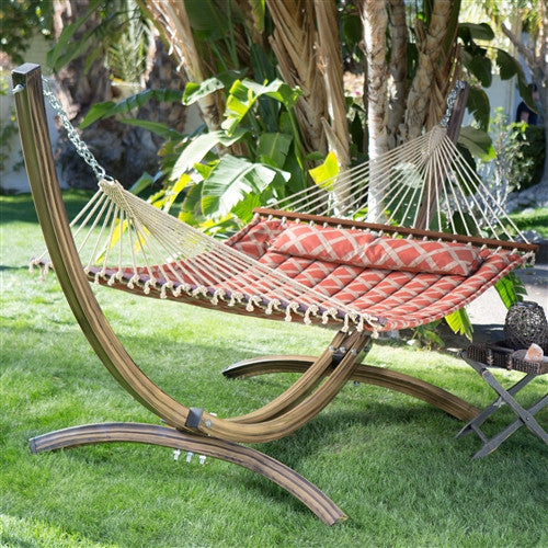 13-Ft Quilted Hammock w/Faux Mahogany Wood Grain Arch Metal Stand - YourGardenStop