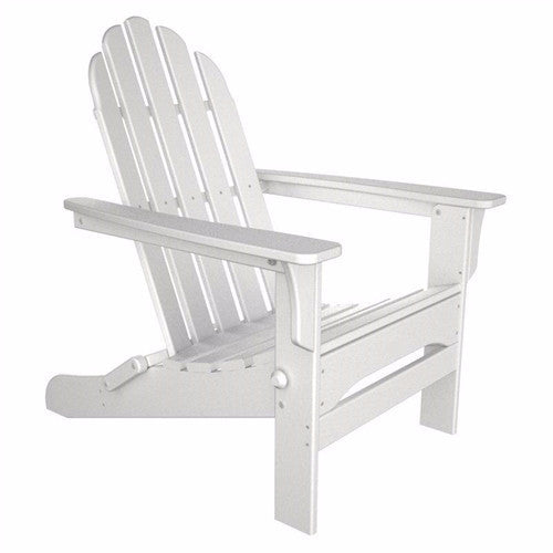 Folding Wooden Adirondack Chair with Armrests in White Wood Finish - YourGardenStop