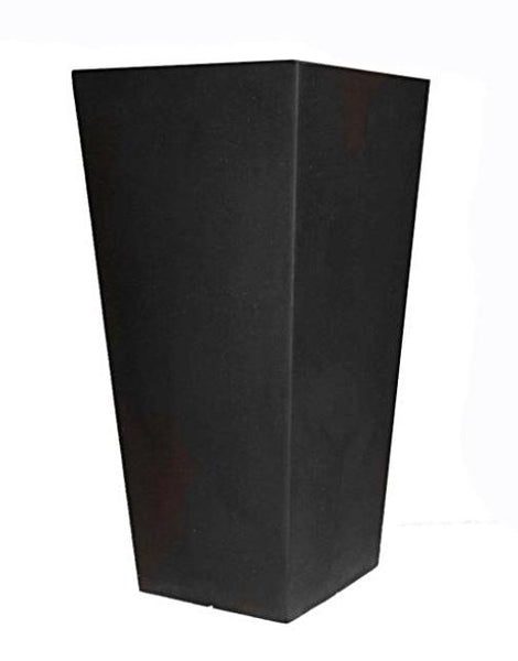 Modern Outdoor Patio Garden 26-inch Planter in Black Molded Plastic