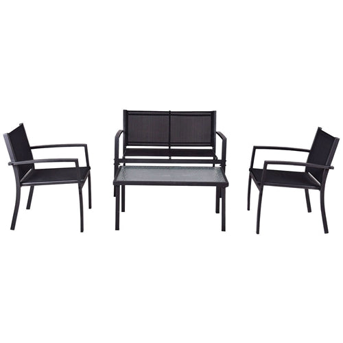 4-Piece Outdoor Patio Furniture Set with Sling Chairs and Coffee Table - YourGardenStop