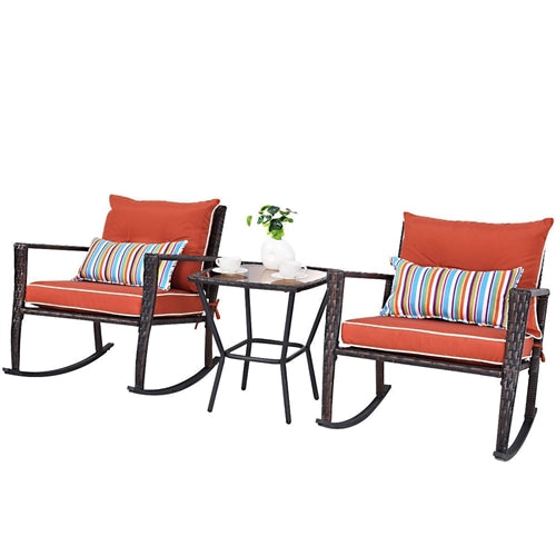 3-Piece Rattan Rocking Chairs and Table Set with Red Cushions - YourGardenStop