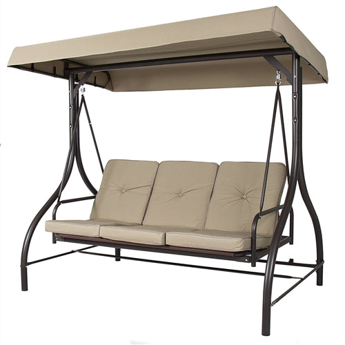 Tan 3 Seat Outdoor Porch Deck Patio Canopy Swing with Cushions