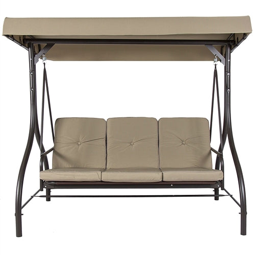 Tan 3 Seat Outdoor Porch Deck Patio Canopy Swing with Cushions - YourGardenStop