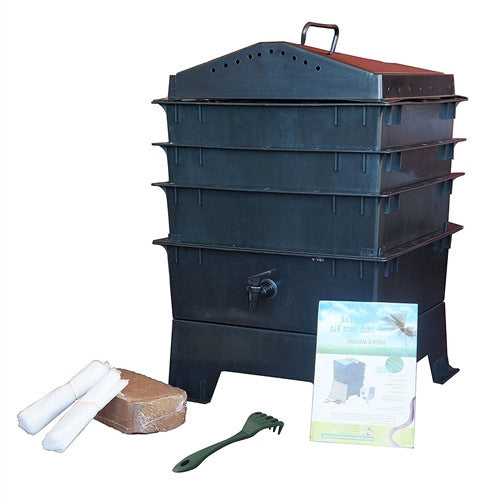 Vermicompost 3 Tray Worm Farm Composting Bin in Black - YourGardenStop