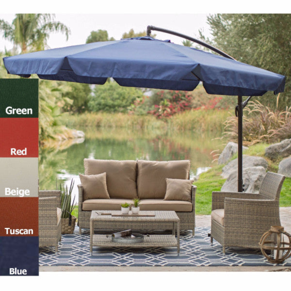 Tuscan 11' Offset Umbrella w/Canopy Base & Detachable Mosquito Netting - YourGardenStop