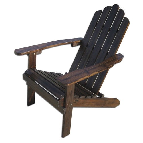 Dark Brown Wood Outdoor Patio Adirondack Chair with Armrests - YourGardenStop