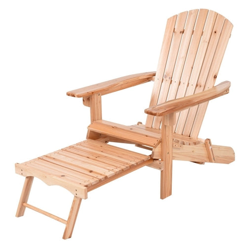 Unfinished Wood Adirondack Chair with Retractable Foot-rest Ottoman - YourGardenStop