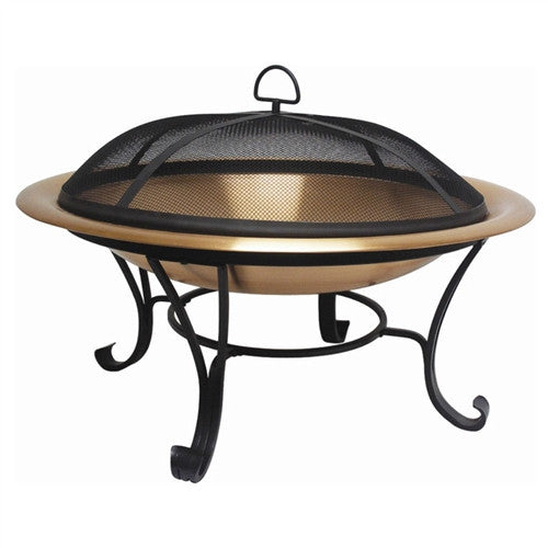"Large 35"" Copper Bowl Fire Pit with Steel Stand and Cover"