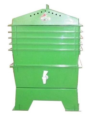 Green 5 Tray Vermicompost Worm Composter with Compost Tea Spigot - YourGardenStop