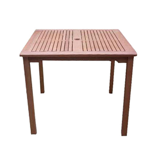 Square 35in Outdoor Wooden Patio Table with Umbrella Hole - YourGardenStop