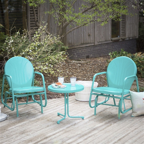 3-Piece Retro Turquoise Blue Patio Furniture Glider Chair Set w/Side Table - YourGardenStop