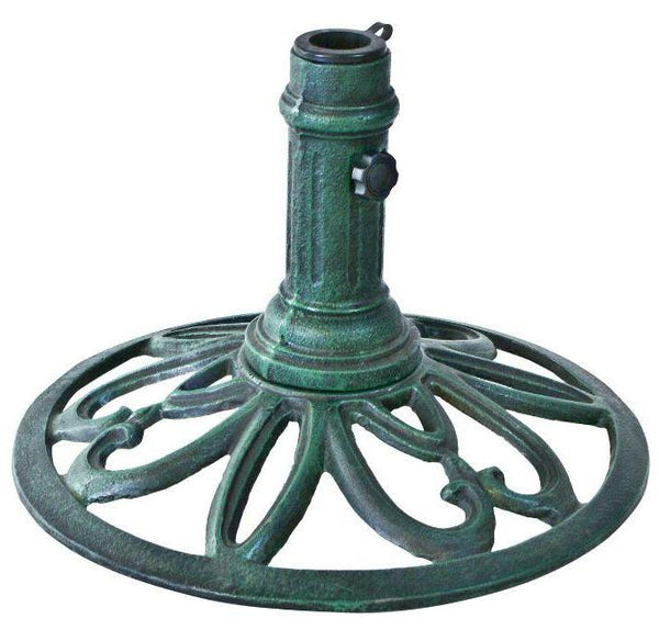 Cast Iron Weather Resistant Umbrella Base in Verde Green - YourGardenStop