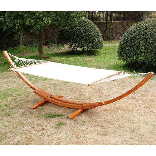 White Cotton Hammock with Crescent Arch Wood Stand