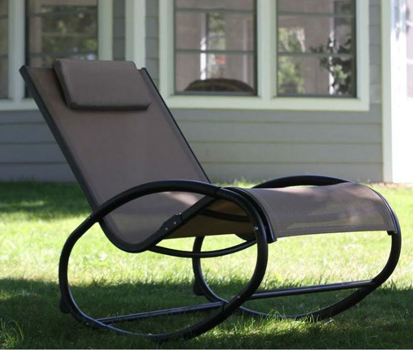 All Weather Cocoa Aluminum Rocker Rocking Chair - YourGardenStop