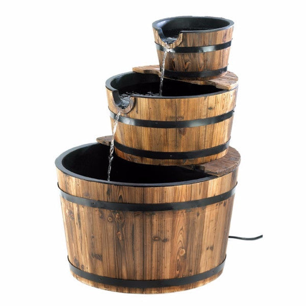 Outdoor Garden 3 Tier Half Barrel Water Fountain - YourGardenStop
