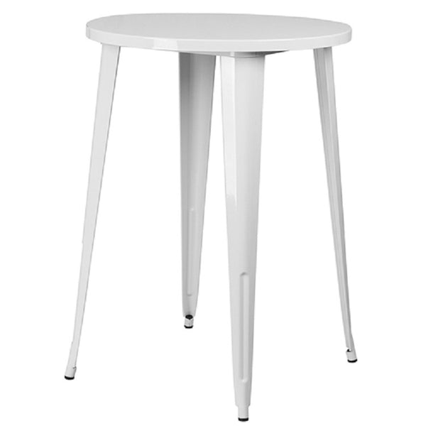 White 30-inch Round Outdoor Metal Bar Bistro Patio Table - YourGardenStop