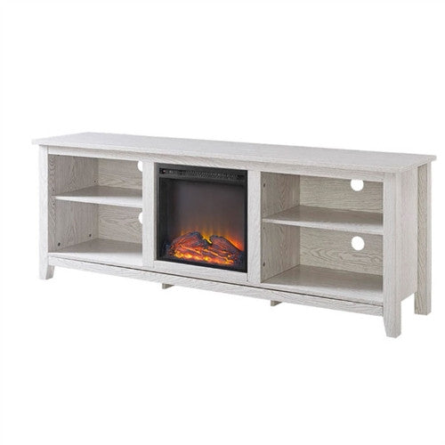 White Wash Wood 70 inch TV Stand Fireplace Space Heater - YourGardenStop