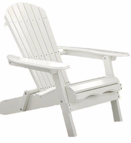 Folding Adirondack Chair in White Wood Finish - YourGardenStop