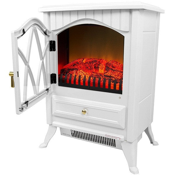 White 400 Square Foot Electric Space Heater Fireplace