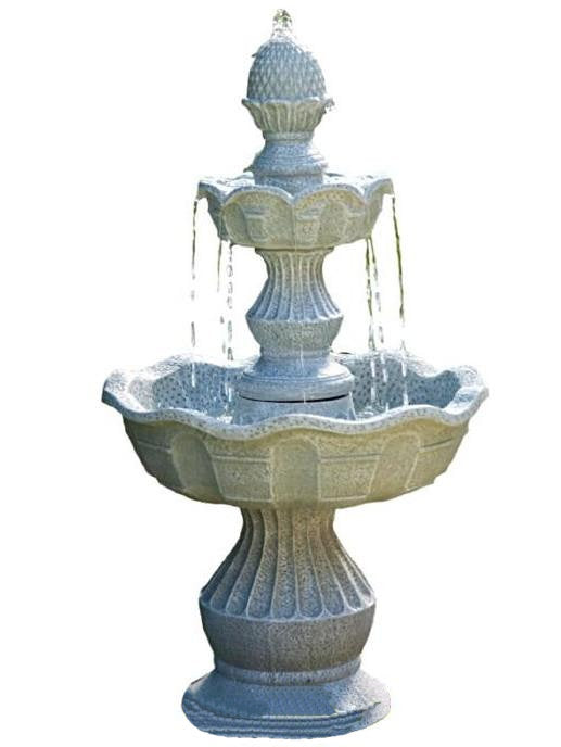 2 Tier Outdoor Fountain with Pineapple Top in Weather Resistant Resin - YourGardenStop