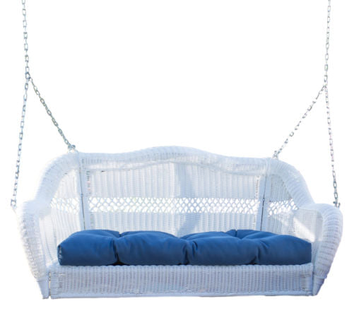 White Resin Wicker Porch Swing with Hanging Hooks & Blue Cushion