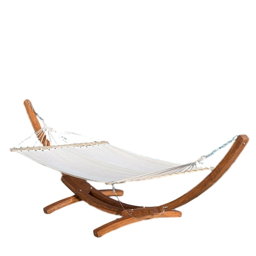 Freestanding 13-ft White Canvas Hammock with Wood Frame Stand