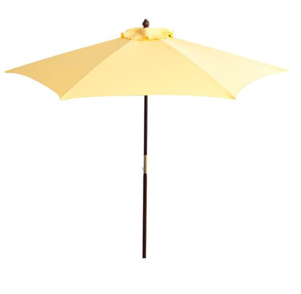 7.5 Ft Yellow Patio Umbrella with Dark Mahogany Stained Pole - YourGardenStop