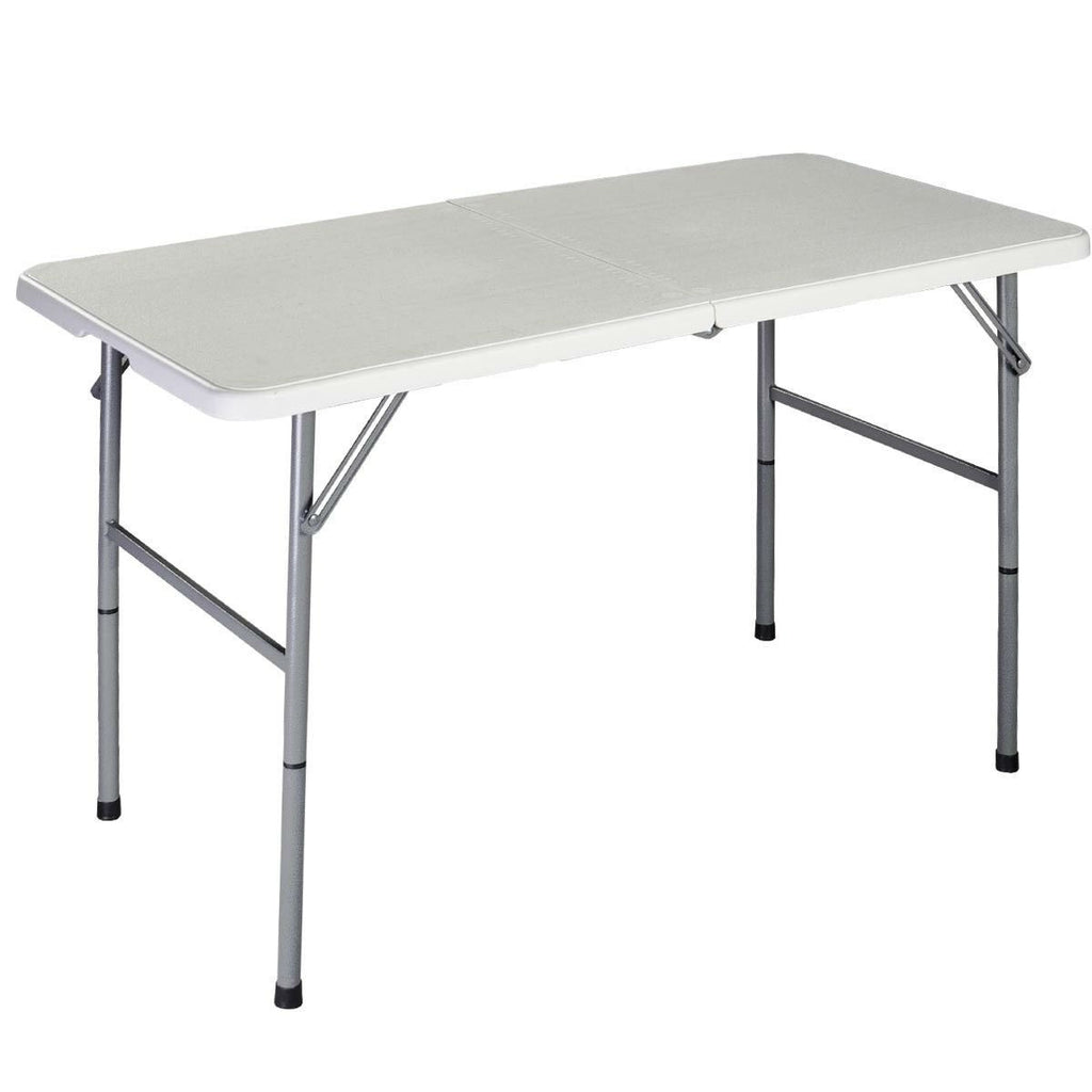 White HDPE Plastic Heavy Duty Indoor Outdoor Folding Table Steel Frame - YourGardenStop