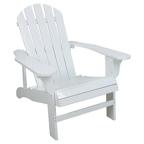 Outdoor Weather Resistant Patio Deck Garden Adirondack Chair in White Resin - YourGardenStop