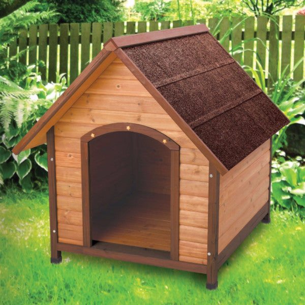 Medium 30-inch Solid Wood Dog House with Waterproof Shingle Roof - YourGardenStop