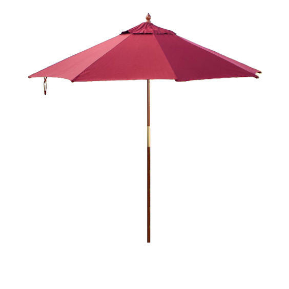 9-Ft Wood Market Umbrella with Burgundy Red Sunbrella Canopy