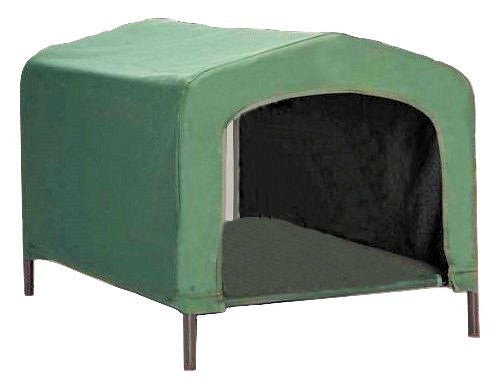 Portable Outdoor Dog House Elevated Covered Doggy Cot Water Resistant in Green - YourGardenStop