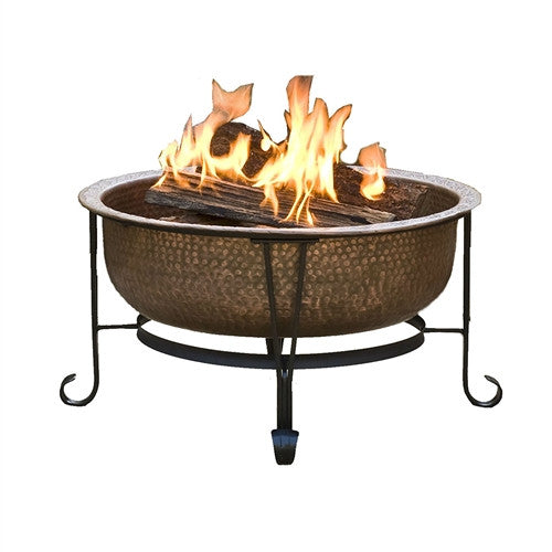Hammered Copper Fire Pit w/Heavy Duty Spark Guard Cover & Stand